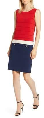 Anne Klein Colorblock Faux Pocket Sheath Dress
