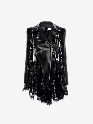 Alexander McQueen Leather and Lace Peplum Biker Jacket