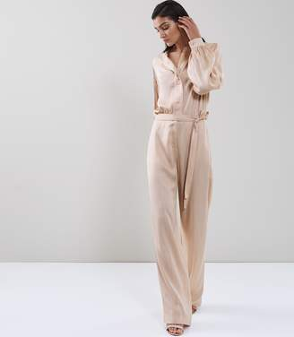 Reiss Regina - Pleat-detail Satin Jumpsuit in Soft Pink
