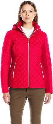 Kensie Women's Active Quilted Jacket with Ponty Detail and Fully Removable Hood