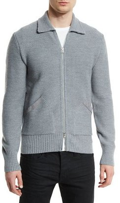 TOM FORD Tuck-Stitched Merino Knit Jacket with Suede Trim, Gray $1,750 thestylecure.com