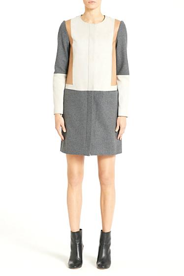 Diane von Furstenberg Tanaquil Suede Leather Combo Coat In Granite Gray