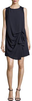 Halston H Poppy Drape Front Sleeveless Dress