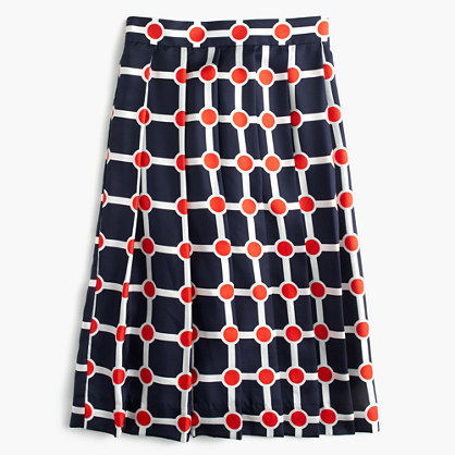 J.CrewCollection pleated silk skirt in Ratti® geo print