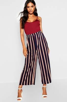 boohoo Stripe Wide Leg Cropped Trouser