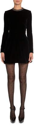 Saint Laurent Velvet Crystal-Collar Dress