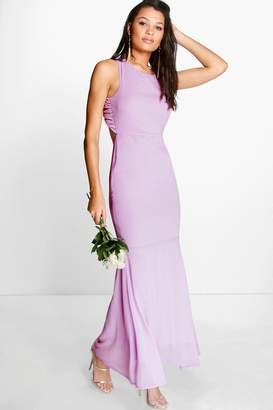 boohoo Chiffon Open Back Fish Tail Maxi Dress