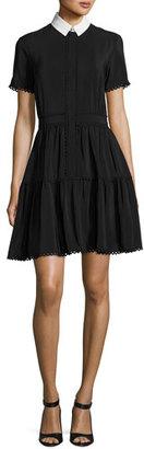 Kenzo Collared Silk Crepe de Chine Mini Dress, Black $680 thestylecure.com
