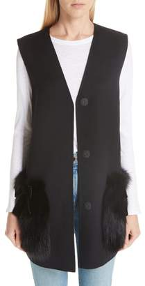 Fendi Wool Vest with Genuine Fox Fur Trim