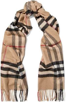 Burberry - Fringed Checked Cashmere Scarf - Camel $435 thestylecure.com
