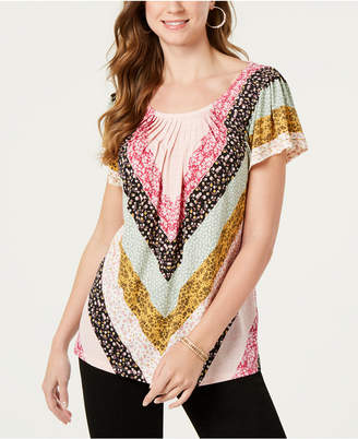 Style&Co. Style & Co Printed Pleated Scoop-Neck Top