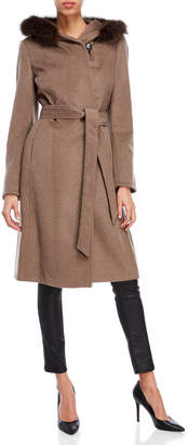 Ellen Tracy Real Fur Trim Hooded Wrap Coat