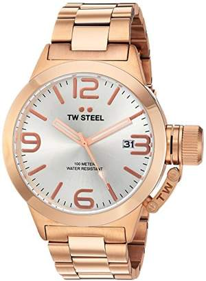 TW Steel Canteen Unisex Quartz Watch with Silver Dial Analogue Display and Rose Gold Stainless Steel Rose Gold Plated Bracelet CB161