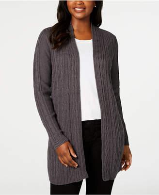Karen Scott Cable-Knit Cardigan