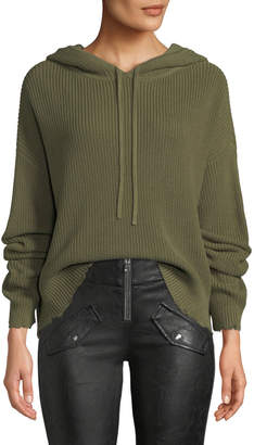 RtA Marvin Hooded Knit Pullover Sweater