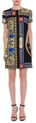 Versace Short-Sleeve Crewneck A-Line Baroque-Print Dress