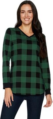 Denim & Co. Buffalo Plaid Jersey V-Neck Long Sleeve w/ Rib Trim Tunic