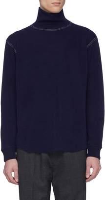 Nanamica Contrast topstitching waffle knit turtleneck long sleeve T-shirt