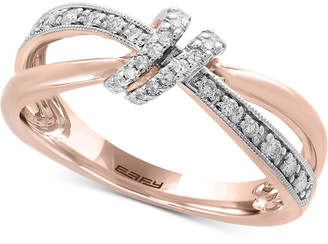 Effy Pave Rose by Diamond Bow Ring (1/6 ct. t.w.) in 14k Rose Gold