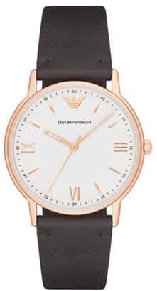 Emporio Armani Analog Kappa Leather Strap Watch