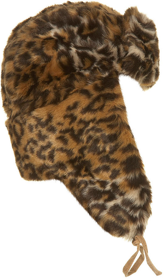Topshop Leopard Fur Trapper Hat
