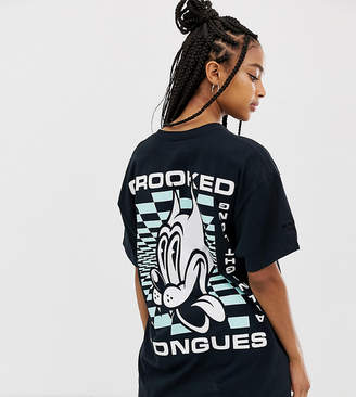 Crooked Tongues oversized t-shirt with all night long cat print