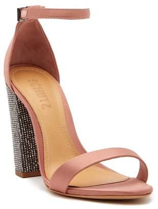 Schutz Hara Crystal Embellished Block Heel Sandal