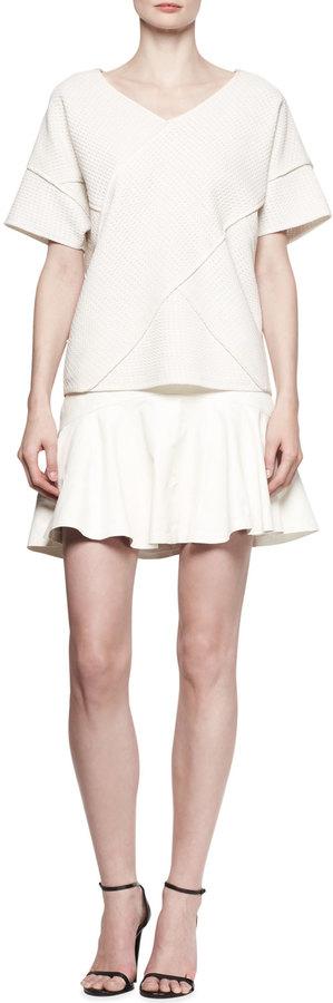 Derek Lam 10 Crosby Yoked Leather Ruffle Skirt