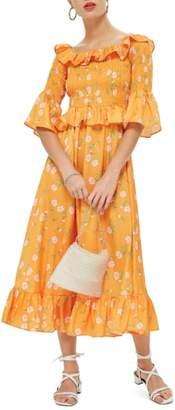 Topshop Shirred Ruffle Midi Dress