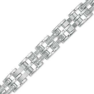 """Zales Men's 1 CT. T.W. Diamond Double Row Bracelet in Stainless Steel - 8.75"""""""