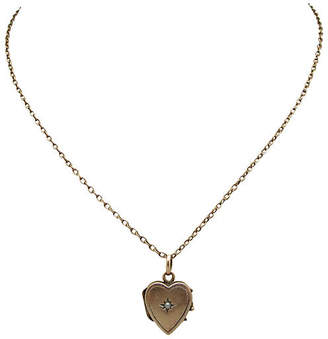 One Kings Lane Vintage Victorian 10K Gold & Pearl Heart Locket - Thanks for the Memories