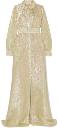 Oscar de la Renta Sequined Silk-blend Lamé Gown - Gold