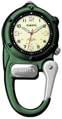 Dakota Mini-Clip Microlight Carabiner Pocket Watch, Green