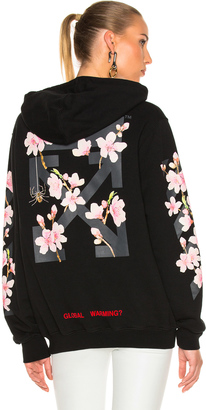 OFF-WHITE Cherry Blossom Diagonal Hoodie $577 thestylecure.com