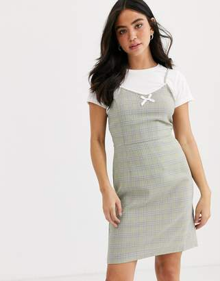 Daisy Street mini cami dress with frill and bow front in check