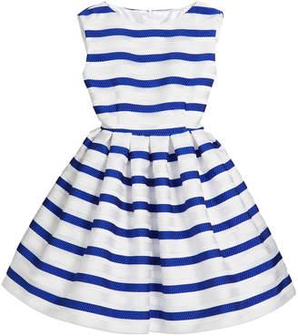 Helena Horizontal Stripe Organza Pleated Dress, Size 2-6