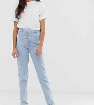 Asos Tall DESIGN Tall ritson rigid mom with double yoke detail in light vintage wash