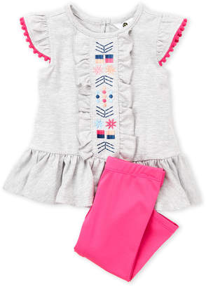 Petit Lem Infant Girls) Two-Piece Pom-Pom Flutter Top & Leggings Set