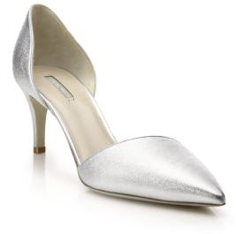 Giorgio Armani Metallic Leather d'Orsay Pumps $595 thestylecure.com
