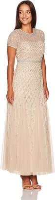 Adrianna Papell Women's Short-Sleeve Beaded Mesh Gown Petite