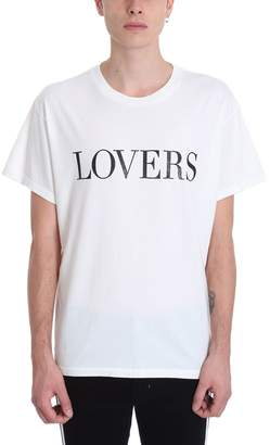 Amiri Lover Glitter White Cotton Tee