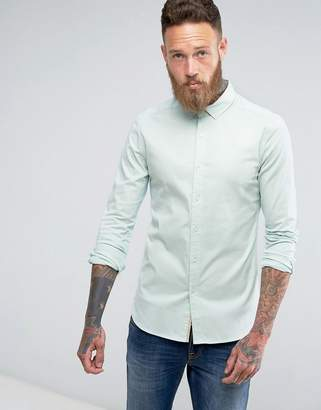 Asos Skinny Twill Shirt In Pale Blue
