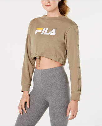 Fila Snap-Sleeve Logo Cropped Sweatshirt