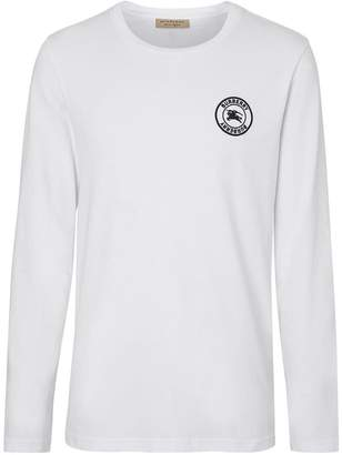 996eb19d8b Burberry Long Sleeve Embroidered Logo Cotton T-shirt