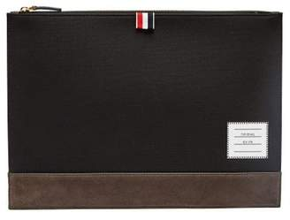 Thom Browne Leather Trimmed Canvas Document Holder - Mens - Black