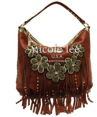 Nicole Lee Sutton Leather Fringe Hobo Bag