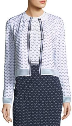 St. John Graphic Ripple-Stitch Knit Cardigan