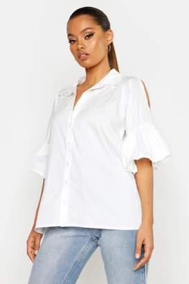 boohoo Poplin Cold Shoulder Ruffle Shirt