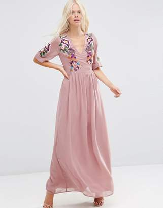 ASOS Premium Wrap Maxi Dress with Embroidered Peacock and Flower Detail $121 thestylecure.com