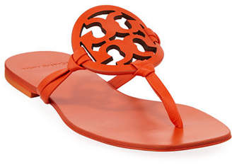 Tory Burch Miller Square-Toe Flat Slide Sandals